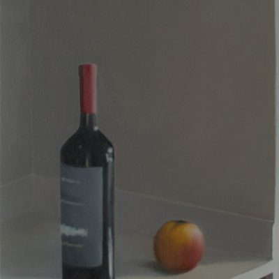 """Wine Bottle and Apple, Oil on Canvas, 18x24"""", 2016 ($500)"""