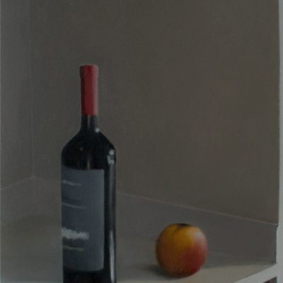 "Wine Bottle and Apple, January 2016, Oil on Canvas, 24x18"" ($500)"